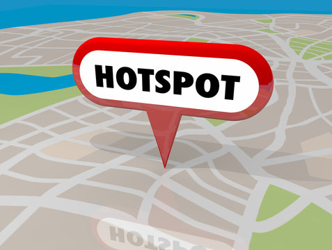Hotspot Popular Area Internet Wireless Wifi Connection Map Pin 3d Illustration