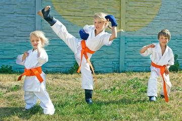 Small karate in orange belts