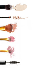 Makeup set on the white background