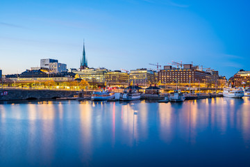 View of Stockholm city at night in Sweden