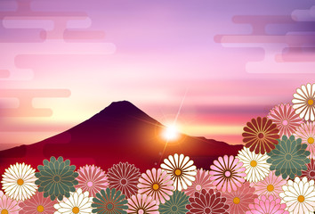 富士山 菊 年賀状 背景