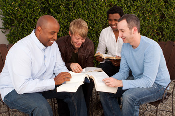 Men's Group Bible Study. Multicultural small group.