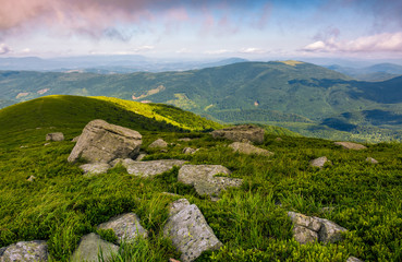 rocks on grassy hillside of Carpathian mountains