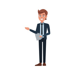 business man holding document work office