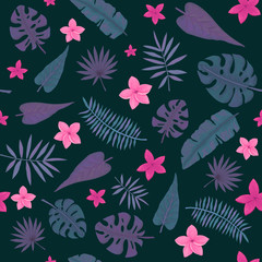 Seamless Pattern of Little Pink Flowers, Violet and Deep Green Palm Leaves