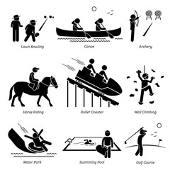 Outdoor Club Games and Recreational Activities. Stick figure depict outdoor games lawn bowling, canoe, archery, horse riding, roller coaster, wall climbing, water park, swimming pool, and golf course.