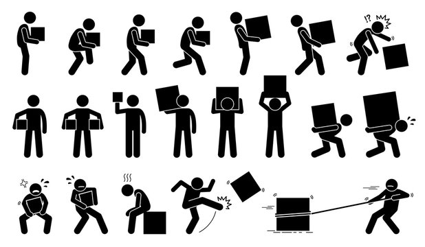 Man carrying and picking a box in various poses, postures, and positions.