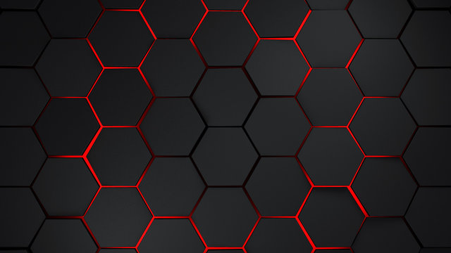 grey and red hexagons modern background illustration