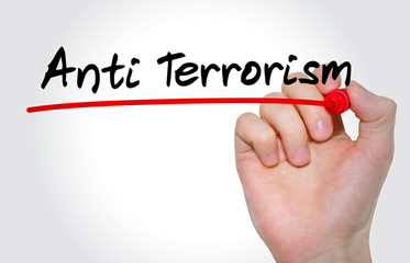 Hand writing inscription Anti Terrorism with marker, concept