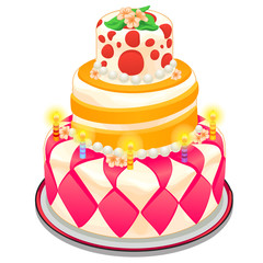 Festive pink cake decorated with candles, beads and flowers. Vector dessert in cartoon style on white background for your design needs. Illustration isolated