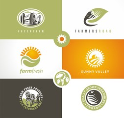 Farm fresh products logo concepts with farm landscapes, organic vegetables, plants, sun shapes and farmer working on the field. Vector signs and symbols collection.