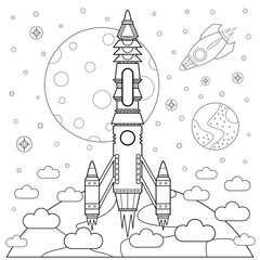 Start rockets and space. Coloring book. Vector illustration.