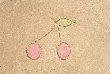 cherries drawing in sand