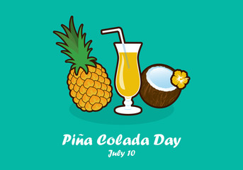 Piña Colada Day vector. Tropical Pina Colada Cocktail Icon. Important day