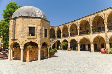 NICOSIA, NORTHERN CYPRUS.View on Buyuk Han (the Great Inn), largest caravanserai in Cyprus. Nicosia