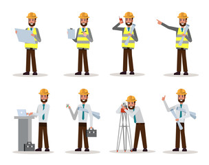 Set of engineer man watching and checking details on a construction site. flat character design. vector illustration