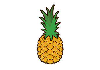 Pineapple vector. Pineapple clip art. Pineapple icon on a white background