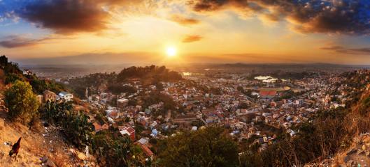 Beautiful HDR cityscape panorama of Antananarivo, Madagascar, at sunset