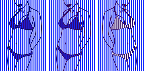 Silhouette of a female body in a swimsuit. White blue striped background background.