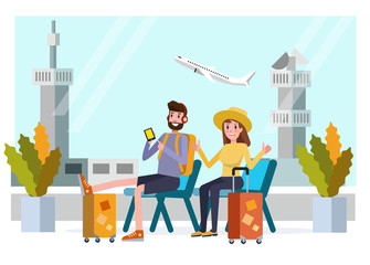 Happy young couple is sitting in airport near suitcase. flat character design. vector illustration