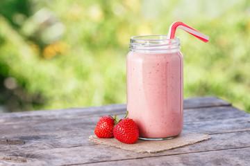 strawberry milkshake in jar