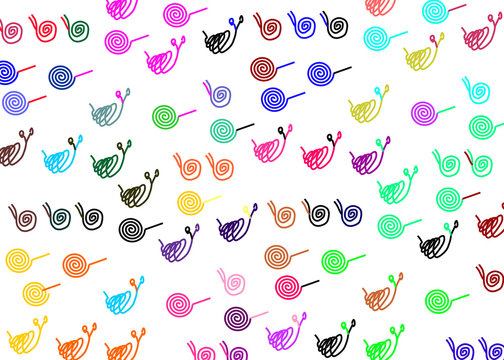 Design work, schematic snails, different shades, colorful