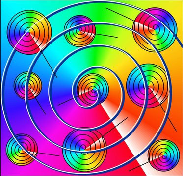 Color pattern, bright design. Spirals, snails, like a lollipop