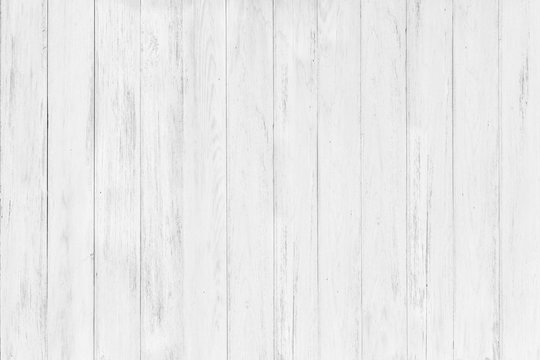 Vintage surface white wood table and rustic grain texture background. Close up of dark rustic wall made of old wood table planks texture. Rustic wood table texture background template for your design.