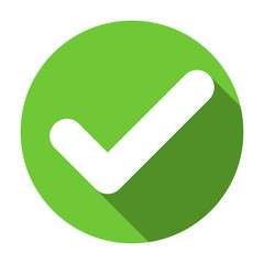 Check mark flat round green icon, button with long shadow. Vector EPS10