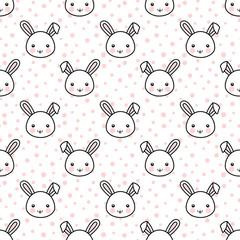 Easter Rabbit Cartoon Face Seamless Pattern