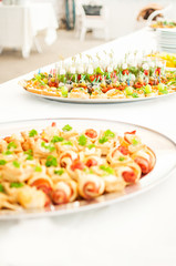 Delicacies and snacks at a buffet or Banquet. Catering.