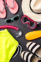 Beach accessories. Top view