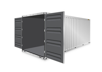 Vector of cargo container or shipping container for logistics and transportation work isolated on white background.