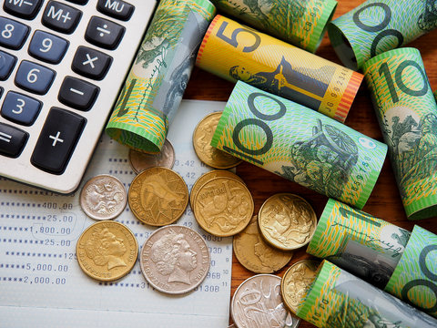 Australia bank note and coins for money save concept.