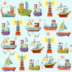 Naval collection. Seamless background pattern.