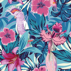 Pink parrot flowers and plants blue background