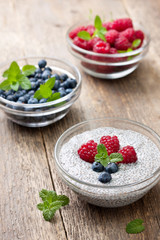 chia pudding with raspberries and blueberries