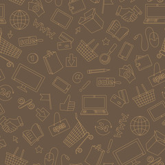 Seamless pattern on the theme of online shopping and Internet shops, beige contour icons on brown background