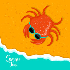 summer time beach vacation holidays background with crab with sunglasses on sand