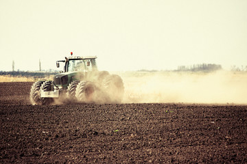 Plowing with tractor