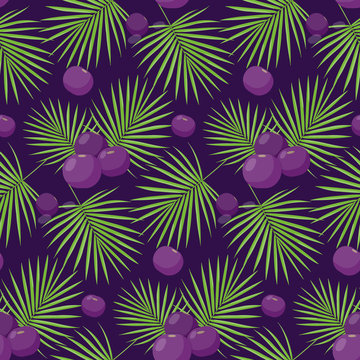 Acai berries vector seamless pattern