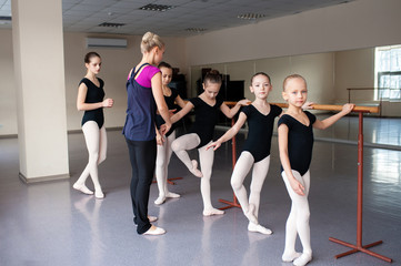 Children are taught ballet positions in choreography.