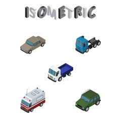 Isometric Car Set Of Lorry, Auto, Armored And Other Vector Objects. Also Includes Transport, Ambulance, Truck Elements.
