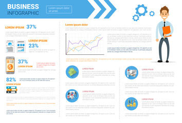 Business Infographics Set Copy Space For Presentation Data Market Report Analysis Concept Flat Vector Illustration