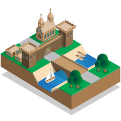The old city wall and a moat. Isometric. Vector illustration.