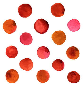 Hand painted vector and watercolor brown and red dots