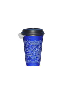 Disposable cup for hot drinks, blue, beautiful ornament