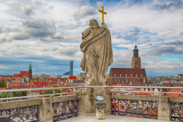 WROCLAW, POLAND - JUNE 29, 2017: Wroclaw Old Town. View from the mathematical tower in University of Wroclaw. Historical capital of Lower Silesia, Poland, Europe.