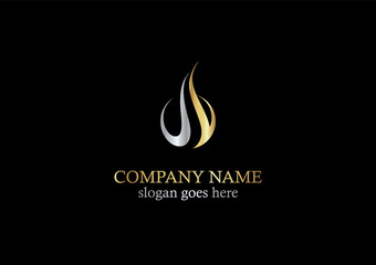 gold flame abstract logo