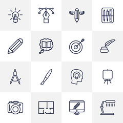 Set Of 16 Creative Outline Icons Set.Collection Of Bezier Curve, Dslr Camera, Idea And Other Elements.